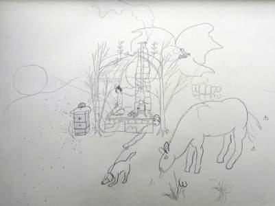 Experiment Živý domek ze stromů - kresba meditace