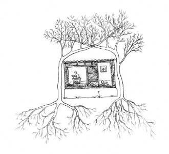 Experiment Živý domek ze stromů - kresba zakrývající varianty živého krovu