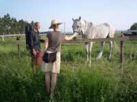 Pavel a Klarisa s bílou kobylkou, konec dubna, 2008