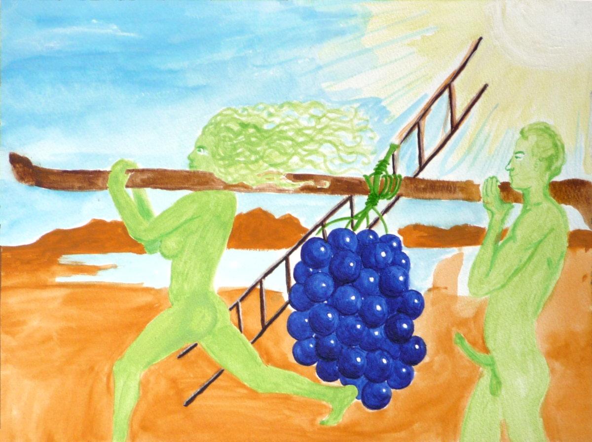 Jan Karpíšek: Wine II, watercolor on paper, 25,5 x 35 cm, 2007, sold in a benefit auction