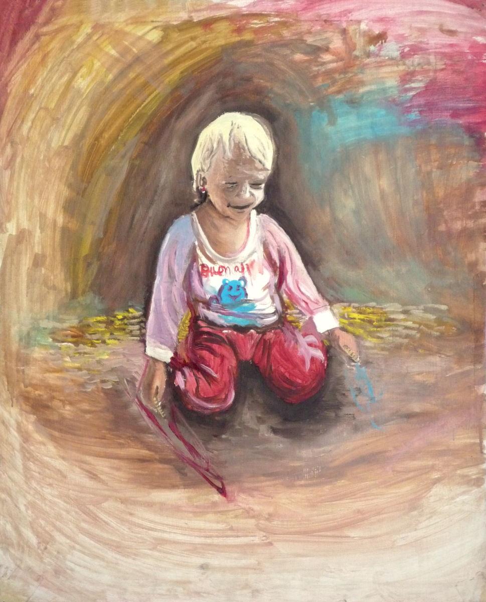 Áňa kreslící, olej na papíře, 64x51 cm, 1999