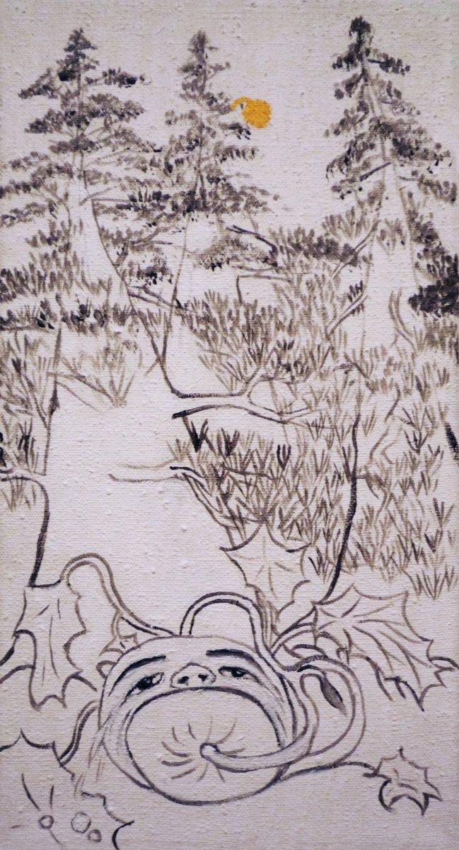Jan Karpíšek: Chceš spolknout sám sebe, ty zlatá šiško?, akryl na plátně, 46x25 cm, 2008