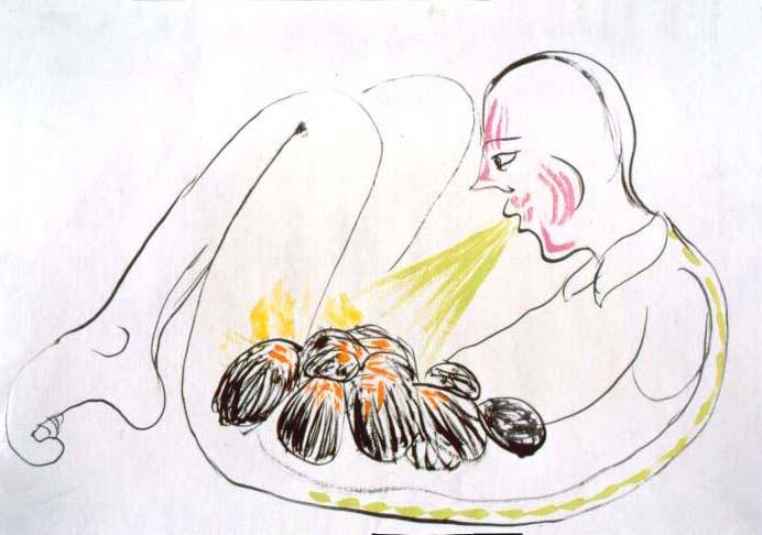 tempera na papíře, 60x83 cm, 2001
