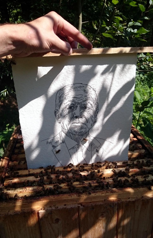 Recep Tayyip Erdoğan beeing inserted in the beehive