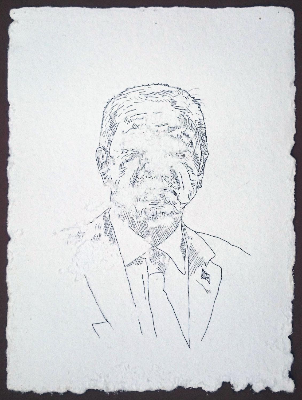 včelí interakce / tuš na ručním papíře, cca 39x30 cm, 2016