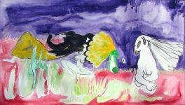 Hloupá zvířátka, akvarel na lepence, 28x48 cm, 2007