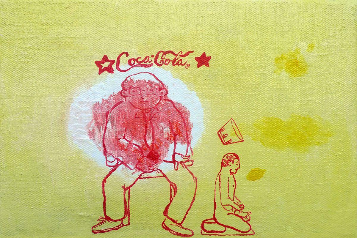 Jan Karpíšek: Pokrytectví, akryl na plátně, 20x30 cm, 2011, benefiční dar