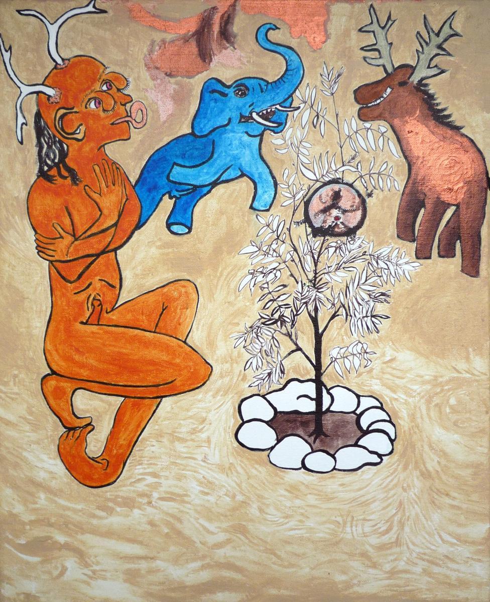 Jan Karpíšek: Kouzelná oskeruše, akryl na plátně, 70x55 cm, 2008