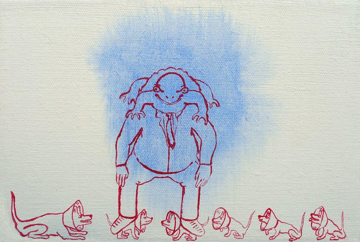 Jan Karpíšek: Vedoucí, akryl na plátně, 20x30 cm, 2011, benefiční dar