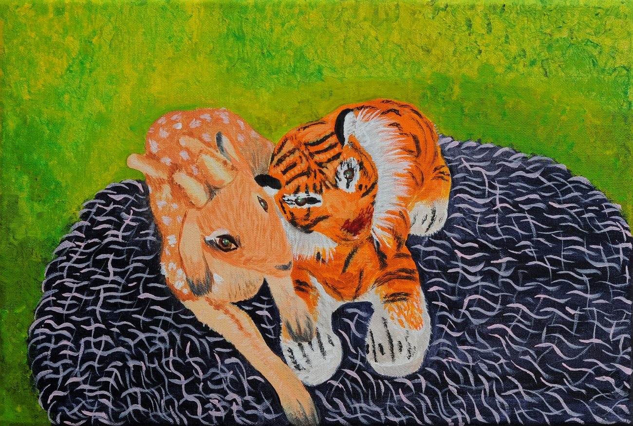 Jan Karpíšek: Miláčci, akryl na plátně, 40x60 cm, 2011