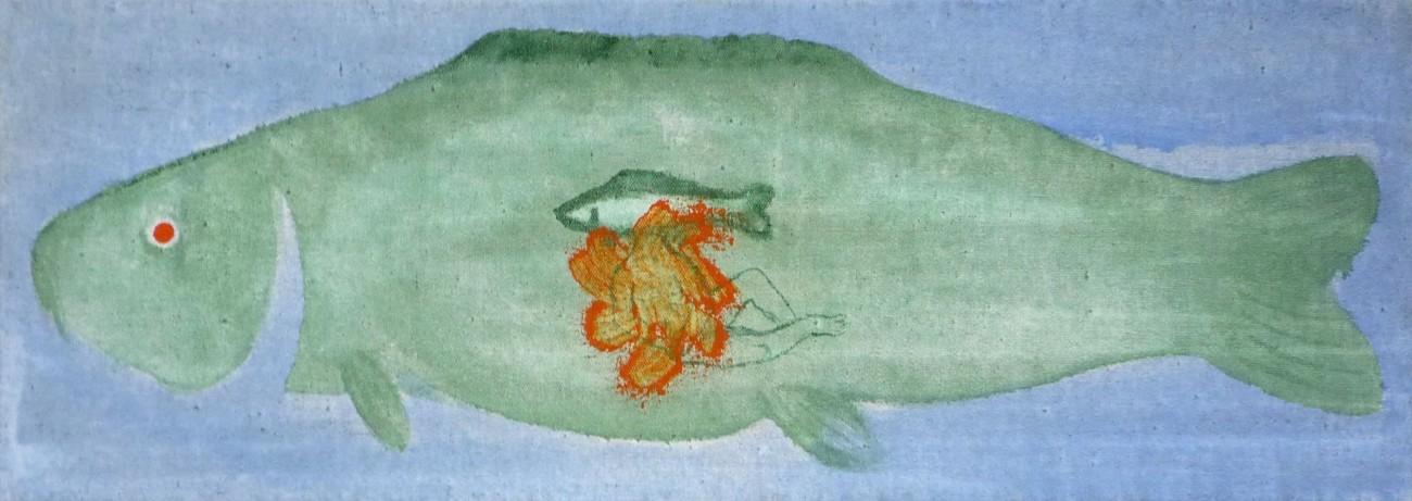 Jan Karpíšek: Ryba v hlavě, akryl na plátně, 30x85 cm, 2008