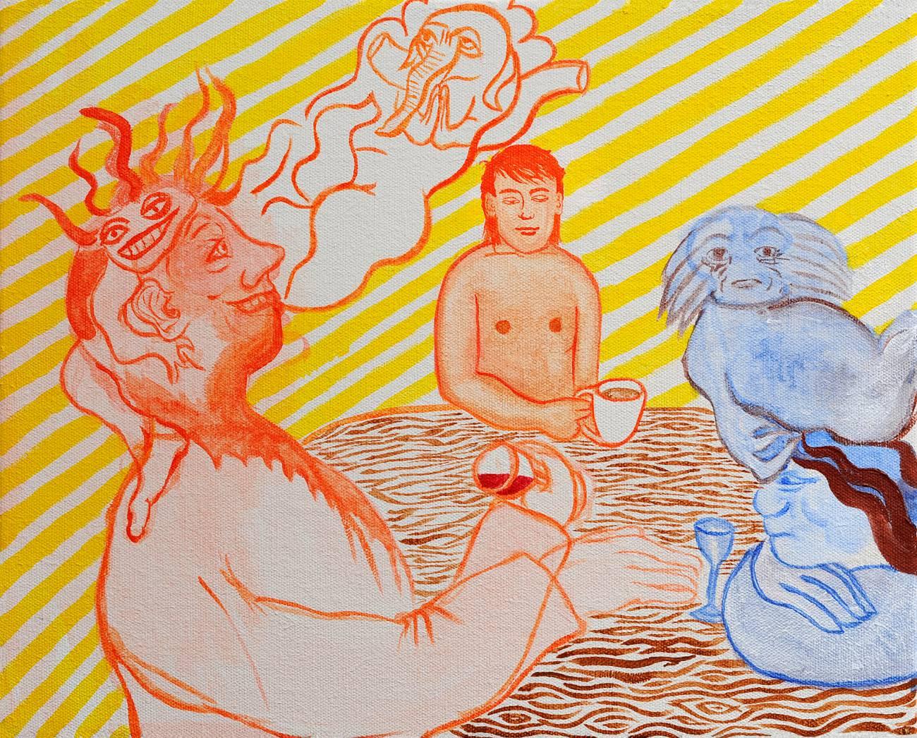 Jan Karpíšek: Tři muži, akryl na plátně, 40x50 cm, 2011