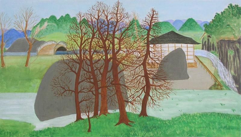 Vodopád (Japonská zahrada), olej na plátně, 65x115 cm, prodáno v benefiční aukci