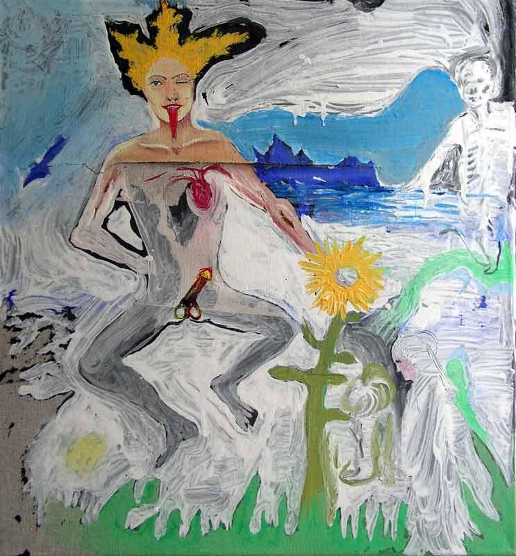 Xenie - Xenie, akryl a papír na plátně, 70x55 cm, 2003