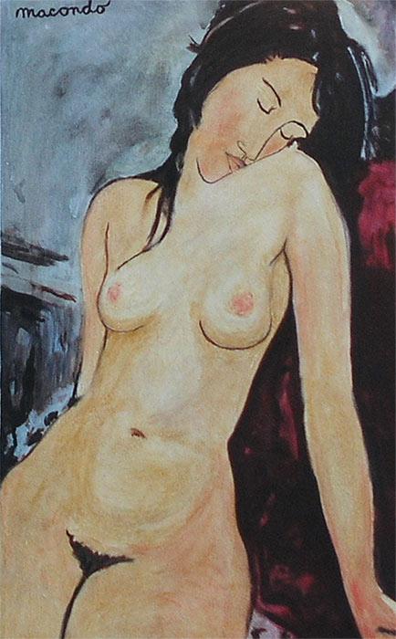 Jan Karpíšek: Copy of A. Modigliani for Pizzerie Macondo of Familie Lucchese, oil on canvas, 2004