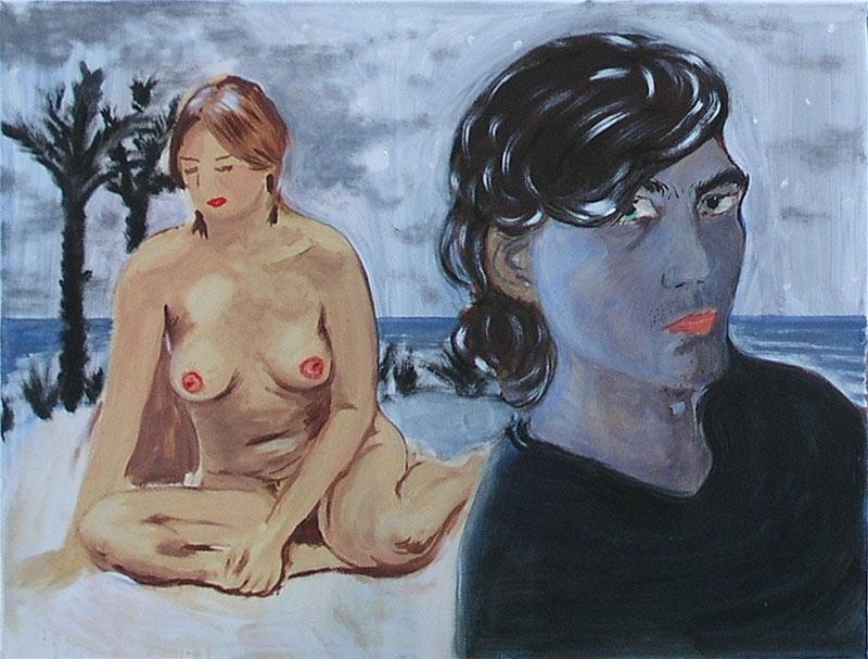 Jan Karpíšek: Palms (Island), oil on canvas, 40x60 cm, state in 2004