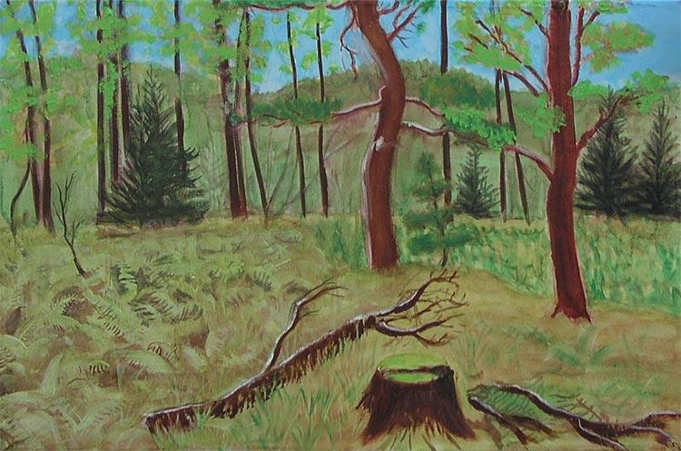 Jan Karpíšek: Wood for Mr. Bieberle, oil on canvas, 2004
