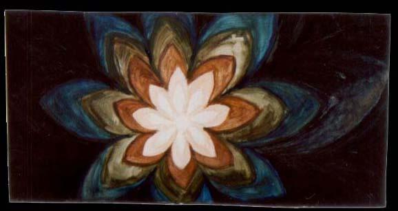 Jan Karpíšek: Květ, olej na sololitu, 29x57 cm, 2001
