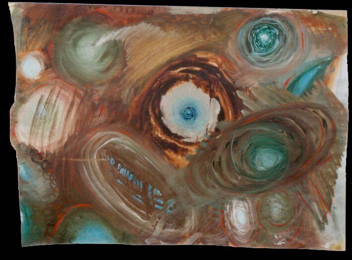 Jan Karpíšek: Kompozice, olej na papíře, 47x65 cm, 2000