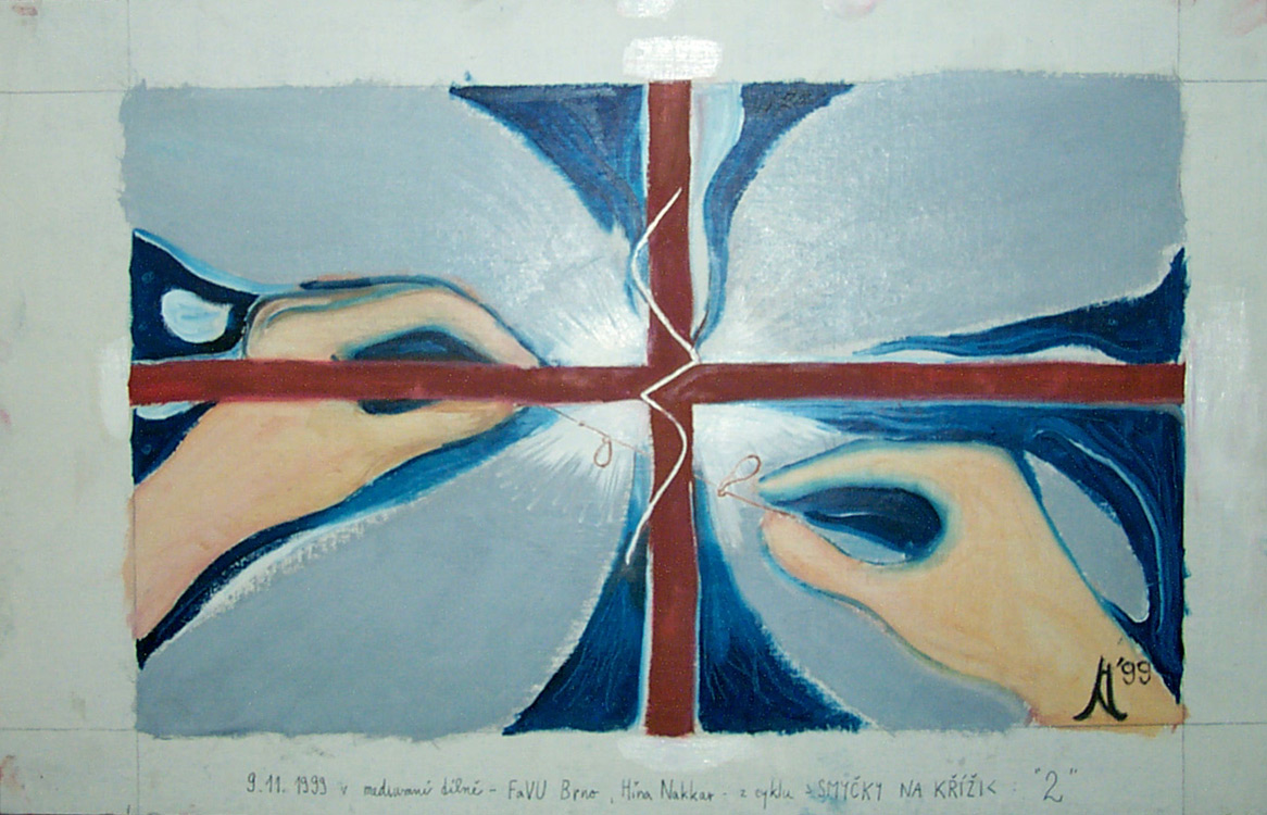 Jan Karpíšek: Ruce (Smyčky na kříži), olej na lepence, asi 20x30cm, 1999