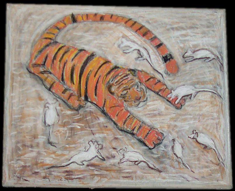 pastel na plátně vycpaném papírem, 45x54 cm, 2002