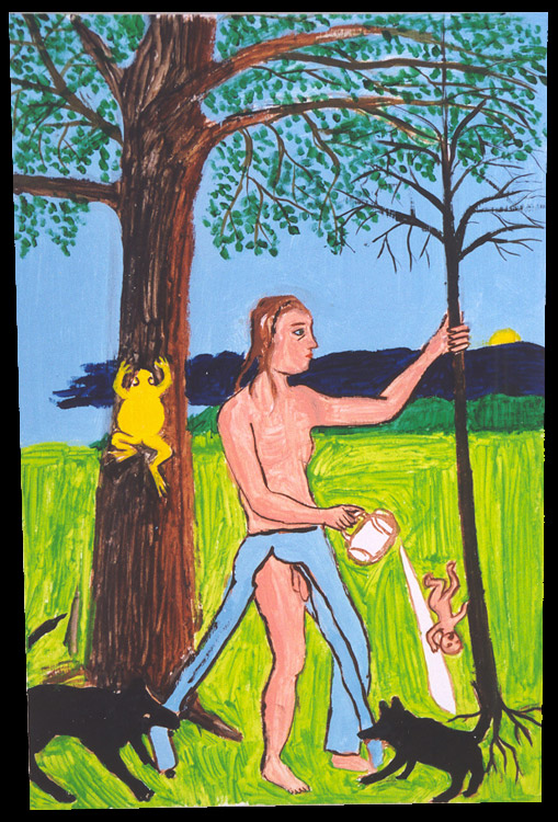Jan Karpíšek: The Mystery, acrylics on carton, 2002