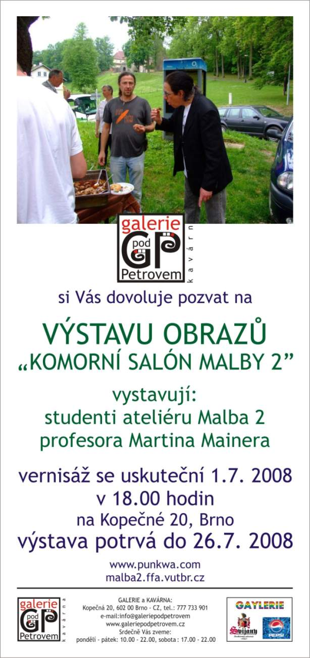 Pozvánka: Komorní atelier Malby 2, Galerie Pod Petrovem, Brno, 1.7.2008