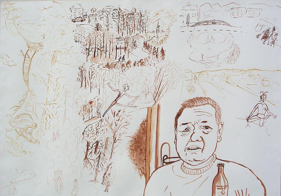 akvarel na papíře, 73x102 cm, 2004