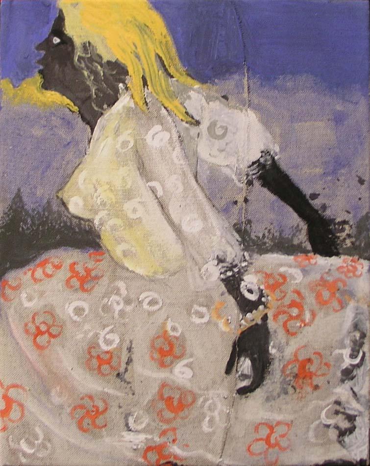 Ema - Ema, akryl a papír na plátně, 45x40 cm, 2003