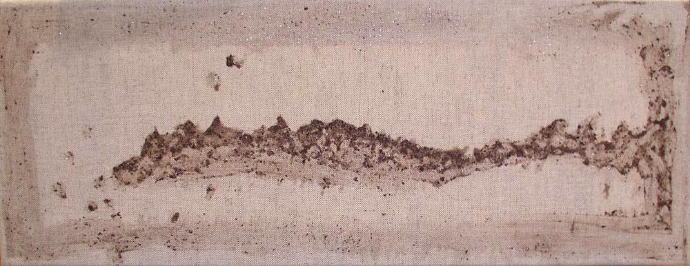 Vilma - Jeseter Vilma, akvarel a čaj s klihem na plátně, 20x60 cm, 2003