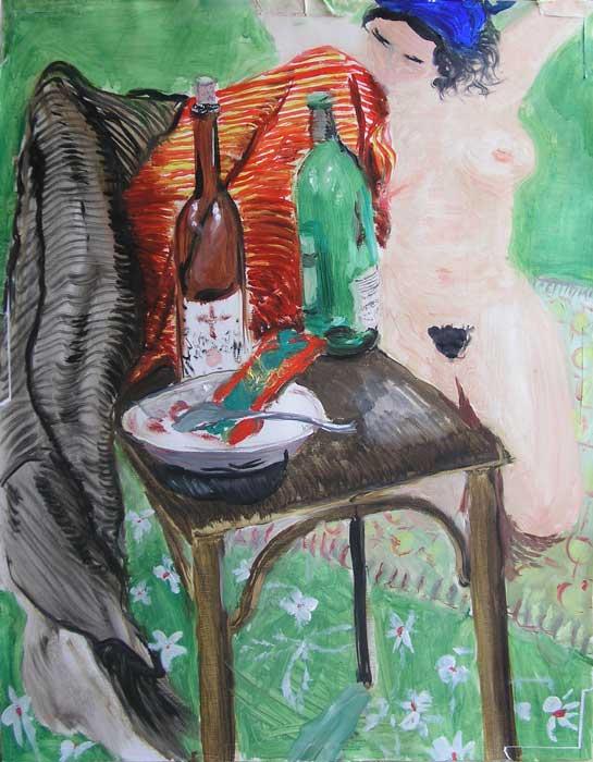 V parku, olej na papíře, 59x45 cm, 2004