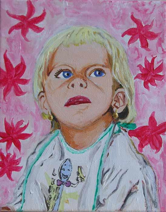 Vánoční dárek pro babičku, akryl na plátně, 30x20 cm, 2003