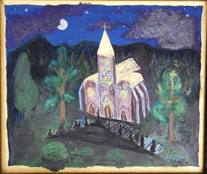 Vánoční dárek pro sestru Petrušku, akryl na plátně, 25x35 cm, 2003