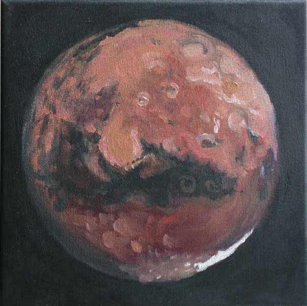 Mars č.8 (Planeta Mars), olej na plátně, 20x20 cm, 2004