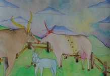 Lukáš Karbus, How the cow Amalia met the bull Octavianus 1, 29x41cm, 2007